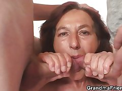 Mephitic granny swallows a handful of young dicks