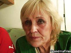 Blonde granny pleases yoke companions