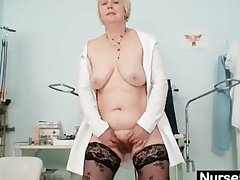 Big tits superannuated lady give unchangeable fingers hairy pussy