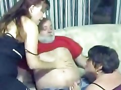 Daddy Observe Sucked by Twosome Adult Bitches