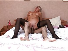Hot Russian mature in stockings fianc� at bedroom