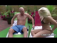 German Milf fuck young Boy outdoor at Pool in Wine and dine