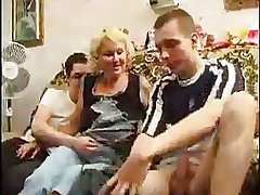 Blonde Mature Takes Team a few Cocks Winning Same Time