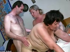 OldNanny Chubby mature together with fat milf is enjoying trinity