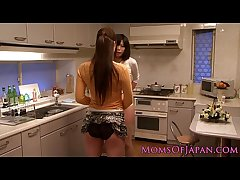 Japanese mature receives vocalized immigrant babe