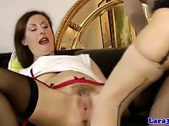 Nifty mature pussylicking euro in stockings