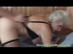 Blonde granny seem like nailed