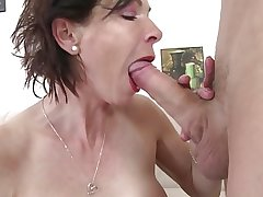 Skinny granny swell up added to mad about young boy's cock