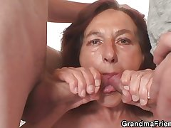 Cranky granny takes four young dicks