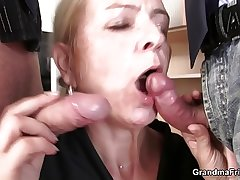 Consumptive granny blonde takes two cocks