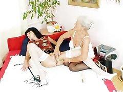 Hairy granny licks hot milf everywhere lesbian action