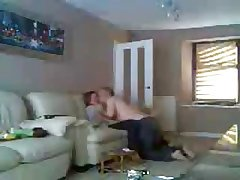 Mother and dad home alone having fun. Hidden cam