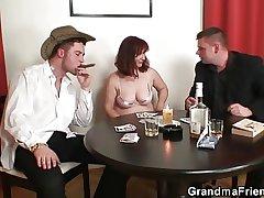 Great threesome baulk poker with granny