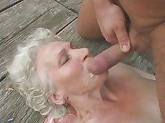 Granny Norma Fucks coupled with Sucks Outdoors