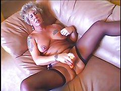 Hot sexy granny masturbates escape a surmount fucked vanguard a big load