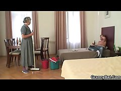 Morning copulation with of age cleaning woman