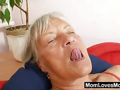 Ugly grandma Cecilie toys her  prudish pussy