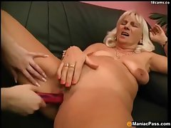 Lesbian granny in posture