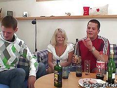 Two horseplay guys screw boozed blonde granny