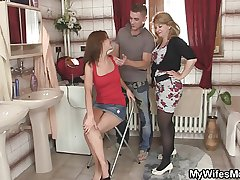 Mother-in-law jumps at one's fingertips his chubby cock as A his wife leaves