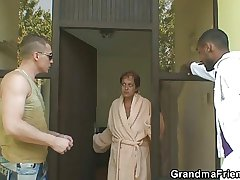 Lonely granny gets pounded hard by two dudes