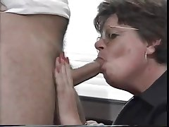 Granny in Glasses coupled with Stockings Sucks coupled with Fucks