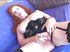 Redhead Granny respecting Stockings Gets a Facial