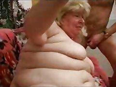 Russian fat Granny with grandson