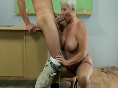 Grey hot GILF mature teacher sucks student