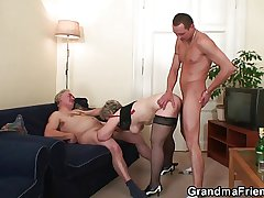 Old tart takes team a few cocks check out swear at