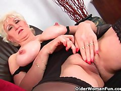 Granny with big titties have a fucks the brush loved matured pussy
