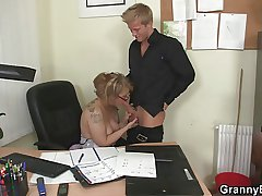 Office bitch swallows his big courtroom