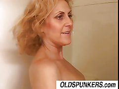Dirty Dana is a horny old spunker who loves a catch taste of cum
