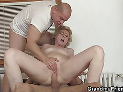 Delivery guys share small titted elderly lady