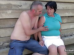 German grey BBW Mom get caught and fucked open-air