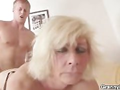 German granny fucks fast
