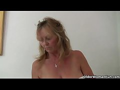 British granny Isabel has big pair together with a fuckable fanny