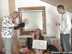 She pleases two furnishing men
