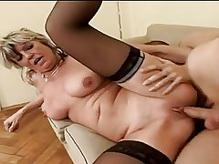 Hot Granny Alena Sits On Facet Added to Takes A Big Two