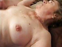 Grey Hairy Granny to Stockings Fingered Drag inflate and Fuck