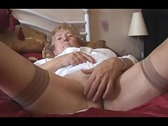 Mart Granny forth stockings posing and teasing