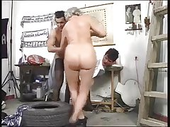 Granny and Friends Skylarking Back Young Cock