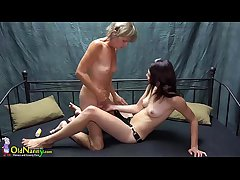 OldNanny Pretty teen girl is playing with old grandma with sextoy strapon