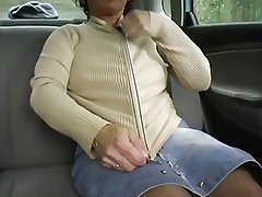 Redhead-BBW-Granny Outdoors in a Car away from 2 Guys