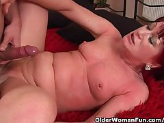 Red Hot Granny With Epigrammatic Tits Rides Cock
