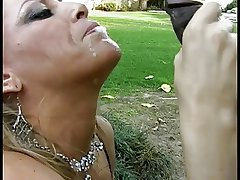 Mature white woman gives a deepthroat blowjob prevalent a lucky young Negroid bloke