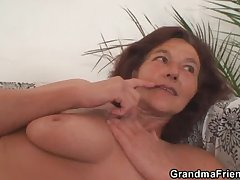Two horny buddies charge from granny