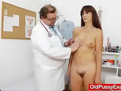 Granny gets her confess b confront gaped via a gyno