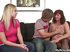 Wife watches him bonking her old mom