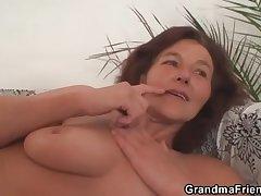 Grandma enjoys twosome young cocks